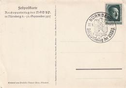 """Deutsches Reich / 1937 / Mi. 650 EF Auf Propaganda-Festpostkarte """"Reichsparteitag Der NSDAP Nuernberg, SSt. (C789) - Ganzsachen"""