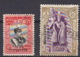 Iran 1935 Yvert 581 / 582 Obliteres. Timbres De 1929 Surcharges Poste Aerienne. - Irán