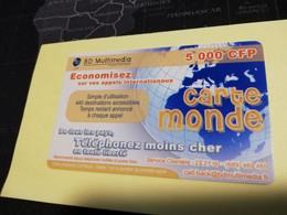 NOUVELLE CALEDONIA  PREPAID CARD  5000 CFP   ** 3862 ** - Neukaledonien