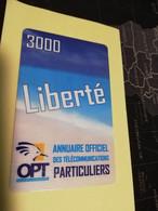 NOUVELLE CALEDONIA  PREPAID CARD  3000 LIBERTE PARTICULIERS    OPT    ** 3868 ** - Neukaledonien