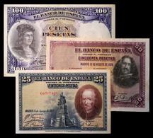 # # # Satz 3 ältere Banknotenn Spanien (Spain) 25+50+100 Pesetas 1928 # # # - 1873-1874 : Prima Repubblica
