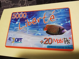 NOUVELLE CALEDONIA  PREPAID CARD  5000  LIBERTE   FISH TROPICAL     OPT    ** 3877 ** - Neukaledonien