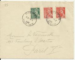 Lettre De Dieppe Pour Paris De 1940 Avec Cachet Type A5 - 1938-42 Mercure