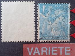 R1098/58 - 1944 - TYPE IRIS - N°650 ☉ - VARIETE ➤➤➤ Grande Ligne Verticale Bleue En Marge Droite + Timbre Carré - Variétés: 1941-44 Oblitérés