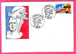 ENVELOPPE EDITEE  POUR LE 25° ANNIVERSAIRE DE LA MORT DE CHARLES DE GAULLE BOURGES LE 25/26 XI 1995  PORTRAIT CONCORDE - Gedenkstempels