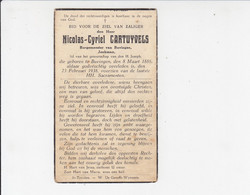 Doodsprentje - Nicolas-Cyriel Cartuyvels Burgemeester Buvingen 1886 / 1938 - Todesanzeige