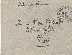 """Cachet """"TRESOR ET POSTE AUX ARMÉES """" En Noir  - COLONNE EXPÉDITIONNAIRE DU CAMEROUN Sur Lettre Pour Paris - TB - Guerra De 1914-18"""