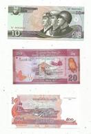 JC , Billet , ASIE , Corée Du Nord, Sri Lanka , Cambodge, Iran , Viet Nam , 4 Scans , LOT DE 6 BILLETS  UNC - Kilowaar - Bankbiljetten