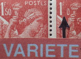 """R1098/66 - 1944 - TYPE IRIS - N°652 BLOC NEUF**(3)/*(1) - SUPERBE VARIETE ➤➤➤ """" 5 """" Du 1f 50 Absent Sur Un Timbre NEUF** - Abarten: 1941-44 Ungebraucht"""