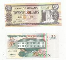 JC , Billet , AMERIQUE DU SUD , Bank Of GUYANA , Centrale Bank Van SURINAME , 2 Scans , LOT DE 2 BILLETS  UNC - Kilowaar - Bankbiljetten