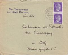 4 Lettres à Entête (Der Bürgermeister) De Phalsbourg (T329 Pfalzburg Westm C), En 42 Et 43 Sur TP Hitler 6pf Et 12pf - Elzas-Lotharingen