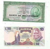 JC , Billet , AFRIQUE , Banco De MOCAMBIQUE ,bank Of ZAMBIA , 2 Scans , LOT DE 2 BILLETS  UNC - Kilowaar - Bankbiljetten
