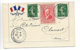 PARIS Erinnophilie Sur Carte Aux Drapeaux Exposition Philatélique 1913 Vignette Rouge + 2 Timbres 5c Semeuse ......HH - Filatelistische Tentoonstellingen