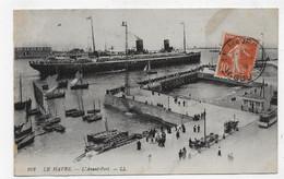 LE HAVRE EN 1908 - N° 102 - L' AVANT PORT AVEC PAQUEBOT - BEAU CACHET - CPA VOYAGEE - Portuario