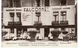 GRENOBLE.  RESTAURANT FALCONNET_ 1 Rue De La République . CPA   (  Isère) - Grenoble