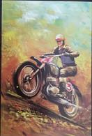 Cp Double; Illustration, Sports Motocyclistes :épreuve Enduro, Moto-cross, Trial? Imprimé En UK, Non écrite - Zonder Classificatie