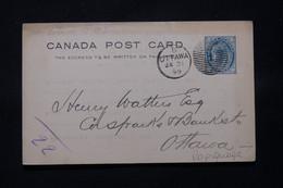 CANADA - Entier Postal Avec Repiquage Au Verso De Ottawa En 1899  - L 78806 - 1860-1899 Reinado De Victoria