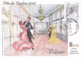 """Carte Locale Fête Du Timbre 2017 Sens (89) """"salons De L'hôtel De Ville"""" Signée R.Irolla. - Sens"""