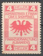 ALBANIA - AUSTRIA Hungary KUK Occupation - Revenue Tax Stamps - 1916 Militärverwaltung - Used 4 H - EAGLE - MNH - Revenue Stamps