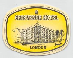 "09315 ""GROSVENOR HOTEL - LONDON"" ETICH. ORIG. PUBBL. HOTEL - Hotel Labels"
