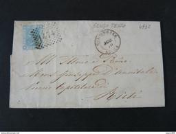 """4932 ITALIA Regno-1867- """"L 26 Londra Effigie"""" C. 20 MONTEREALE>RIETI (descrizione) - Marcophilia"""
