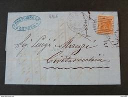 """4946 ITALIA Regno-1877- """"Effigie"""" C. 20 GENOVA>CIVITAVECCHIA (descrizione) - Storia Postale"""