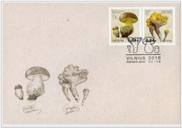 15.- LITHUANIA 2016 FDC Red Book Of Lithuania - Funghi - Paddestoelen