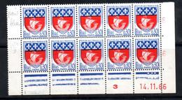 FRANCE N° 1354B 30 C BLEU ET ROUGE BLASON DE PARIS POINT BLEU DANS LA VOILE DU 1ER TPS BLOC DE 10 AVEC C.D. DU 14.11.66 - Kuriositäten: 1960-69 Ungebraucht