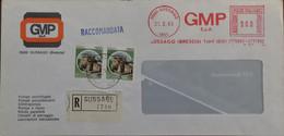 Gussago 1983 - GMP - Ema Meter Freistempel 900 + Castelli L.250 Coppia - Raccomandata - 1981-90: Marcophilia