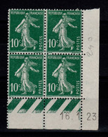Coin Daté - YV 159 N**/N* (2 Timbres N*) Semeuse Du 16.1.23 - ....-1929