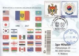 Moldova 2017 25 Years Of Diplomatic Relations Moldova - Korea Special Concellation - Sobres