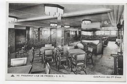 PAQUEBOT TRANSATLANTIQUE ILE DE FRANCE - N° 142 - CAFE FUMOIR DES 2eme CLASSE - CPA NON VOYAGEE - 75 - Paquebots