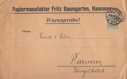 DR Brief Warenprobe EF Minr.147 Hannover 2.10.21 Gel. Nach Barmen - Briefe U. Dokumente