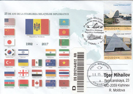 Moldova 2017 25 Years Of Diplomatic Relations Moldova - Azerbaijan Special Concellation - Sobres