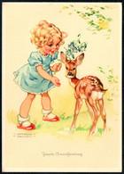D2397 - Lungers Hausen Glückwunschkarte - Kinder Mädchen Bambi - Geburtstag