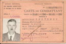 République Française CARTE DU COMBATTANT Délivrée En 1954 à St Etienne - Historische Documenten