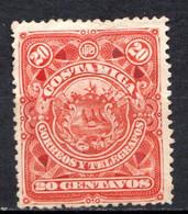 COSTA RICA - (Amérique Centrale) - 1892 - N° 35 - 20 C. Rouge - (Armoiries) - America Centrale