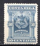 COSTA RICA - (Amérique Centrale) - 1892 - N° 36 - 50 C. Bleu - (Armoiries) - America Centrale