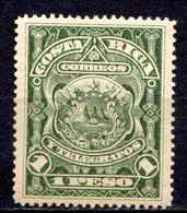 COSTA RICA - (Amérique Centrale) - 1892 - N° 37 - 1 P. Vert Foncé S. Jaune - (Armoiries) - America Centrale