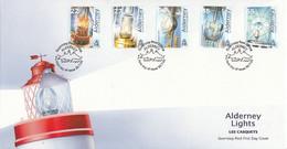FDC ALDERNEY 194-198,lighthouses - Faros