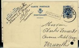 Entier , Obl. TOURNAI  1936  + Griffe De VELAINES (encadrée ) - Sello Lineal