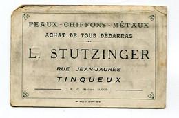 Carte De Visite : Maison  Stutzinger à Tinqueux Peaux Chiffons Débarras   VOIR  DESCRIPTIF  §§§§§ - Cartoncini Da Visita