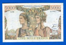 5000 Fr  Du  7 / 2 /1952 - 5 000 F 1949-1957 ''Terre Et Mer''