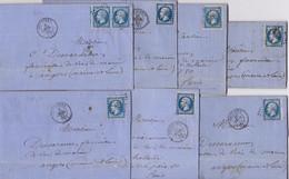 21724# LOT 7 LETTRES Obl PC 3683 VOUZIERS 1861 ARDENNES - 1849-1876: Periodo Clásico