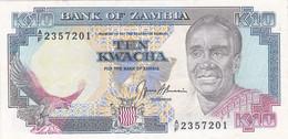 Zambie - Billet De 10 Kwacha - Kenneth Kaunda - Non Daté (1989-91) - P31b - Zambia