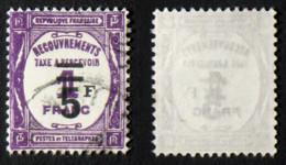 N° TAXE 65 5F/1F Lilas Oblit TB Cote 17€ - 1859-1955 Usados