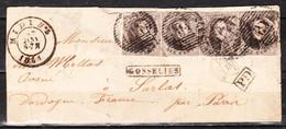 10 Médaillon En Bande De 4 Sur Lettre Du 27.01.1861 De Gosselies Pour Sarlat (France) - LOOK!!!! - Postmarks - Lines: Perceptions