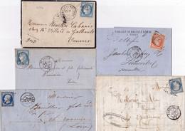 21740# LOT 5 LETTRES CLASSIQUES BAINS DU MONT DORE PUY DE DOME CUSSET ALLIER COMMENTRY PARIS N°16 ST FLOUR CANTAL - 1849-1876: Periodo Clásico