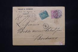 FRANCE - Enveloppe Commerciale En Recommandé De Paris Pour Bordeaux En 1890, Affranchissement Sage 5 + 50ct - L 78892 - 1877-1920: Periodo Semi Moderno