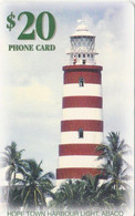 Bahamas, BHS-C-18A, Hope Town Harbour Lighthouse, 2 Scans.   Chip : GEM1B (Not Symmetric White/Gold) - Bahamas